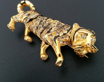Vintage Hattie Carnegie Tiger Brooch - Black Lacquer Stripes and Rhinestones