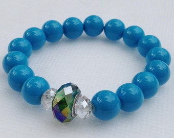 Bright Blue Bead bracelet with crystal center