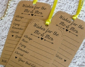 Set of 12 Bridal Shower or Wedding Wishing Tree Tags / Advice Tags / Vintage Theme Bridal Shower / White Ivory or Kraft Card Stock
