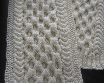 Sale 15%. Ivory Cable Knit Scarf. Chunky Knit Long  Winter Scarf. Ready to ship. Free shipping