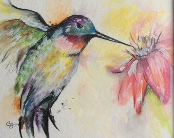Humingbird watercolor/acrylic