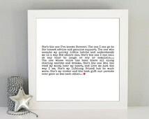 Gift for sister. Best sister quote. Framed sister art print. Gift ideas for sister. Sister best friend. Christmas Birthday gift idea sister