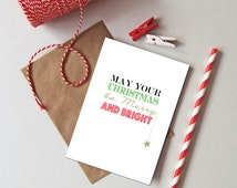 1 or pack of 6 Merry and bright Christmas cards. Modern typography Christmas card. Christmas card packs. Red, green gold holiday cards