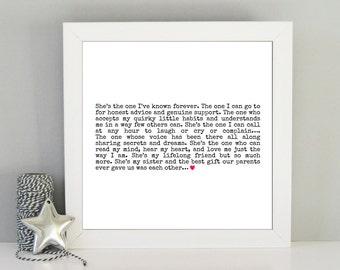 Sister gift - Best sister quote framed print - Framed sister art print - Gift idea for sister - Sister best friend - Birthday gift sister