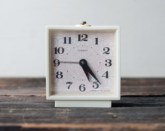 Ivory White Vintage Alarm Clock Sevani from the USSR - Working Vintage Clock, Retro Clock