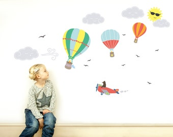 Childrens Wall Decals, Childrens Wall Stickers, Kids Wall Decals, Nursery Decor, Hot Air Balloon Decals