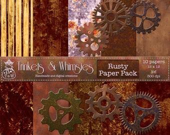 Rusty Digital Scrapbook Papers - Instant Download