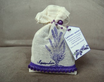 Large organic lavender sachet in muslin bag, hand-made and decorated - great gift present