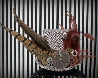 Steampunk Mini Top Hat, Mini Top Hat, Mad Hatter Hat, Fascinator, Mini Hat, Top Hat, Mini Hats, Tea Party Hat, Wedding Hat, Women Top Hat