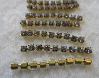 "Czech rhinestone chain 1&1/4""sections,18pp crystal,7 sections-SZS39"