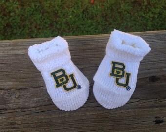 Baylor bears baby booties