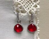 Ruby Rhinestone Earrings,  Art Deco Wire Earrings, Stainless Steel with Clear Rhinestones, Cocktail, 5/8 in, 16 mm