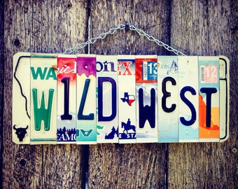 License plate. Recycled. Wild West. Sign. Western Decor. Cowboy. Cowgirl. Giftidea. Christmas. Forhim. Bull. Horse. Travel. Texas