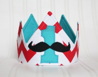 Mustache Birthday - Boy First Birthday Crown -First Birthday Hat - First Birthday Party