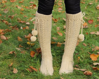 Extra Long Eco Socks, 100% Wool Long Socks, Boot Socks, Womens Wool SocksEco Wool Undyed