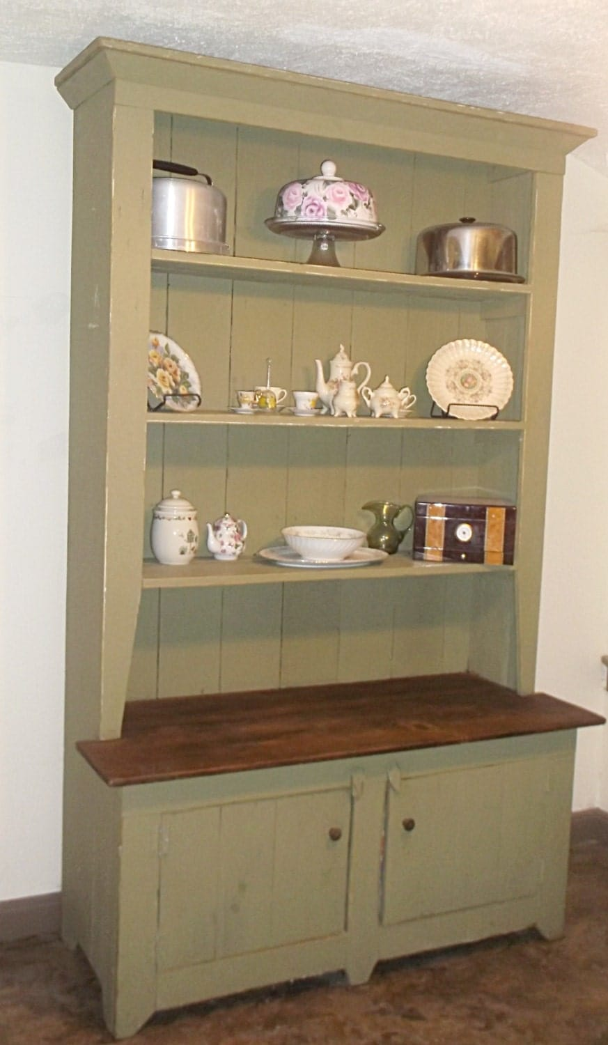 Rustic kitchen hutch painted sideboard cottage chic by sameasnever