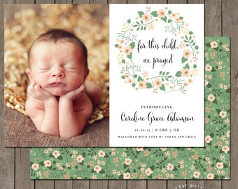 Printable Birth Announcement Photo Card - the Sweet Pea Collection