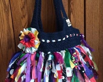 Colorful Fabric Strip Purse / Rag Purse Flower
