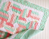 Mint Coral Baby Girl quilt- nursery quilt coral nursery quilt - posy girlie fabric- Mint Nursery Quilt-Baby blanket-Baby girl quilt-