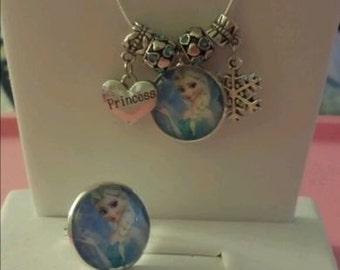 """Disney's Frozen Elsa Silver """"Princess"""" Jeweled Snowflake Charm Necklace and Ring"""