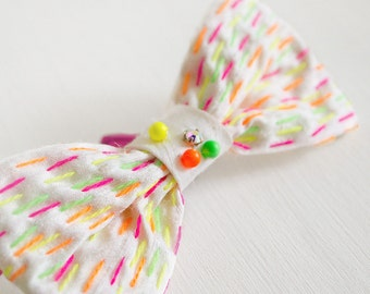 Bridal fascinator silk bow neon sashiko embroidery hairpiece