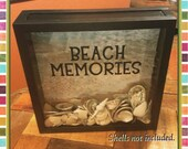 Seashell collection, Beach Memories Box, 12x12 display seashells, Shadow Box, vacation Memories, Beach Vacation, Beach Treasures, Honeymoon