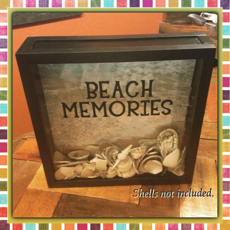 Beach Theme Home Decor Shadow Box Beach Gift: Seashell Collection Beach Memories Box 12x12 Display