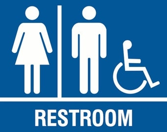 blue wheelchair restroom men women sign quality plastic outdoor plaque double sided tape home posted bathroom unisex handicap print s118