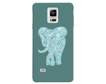 Cute Elephant Samsung Note 3 Case Blue Teal Note 4 Back Cover Cute Phone Cases For Girls Teens Women Elephants III IV Galaxy S4 S5 c04