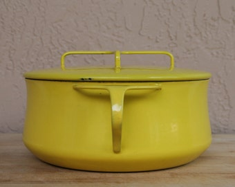 Medium Vintage Dansk Kobenstyle French Oven in Yellow Enamel