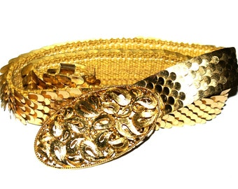 Vintage Golden Ladies Belt, Disco Elegant