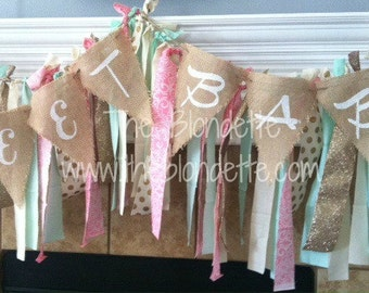 Sweet Baby. Baby BURLAP BANNER. Triangle banner with white lettering. Baby Boy. Baby Girl.Baby Shower decorations.