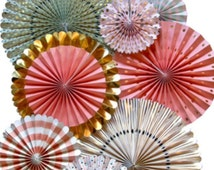 Wedding Paper Fan Set / Party Pinwheels  / Backdrop / Rosette / Wall Hanging Decor