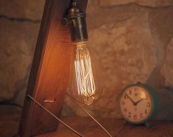 Desk lamp - Reclaimed wood - Wooden Table Lamp - industrial lighting - reclaimed  wood - Edison bulb