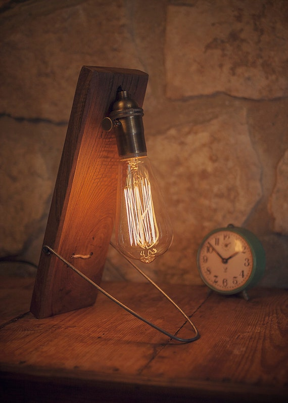 items similar to desk lamp reclaimed wood wooden table lamp industrial. Black Bedroom Furniture Sets. Home Design Ideas