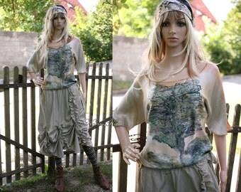 Bohemian Handpainted Artistic Silk Tunic OOAK