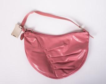 50% OFF SALE 1990's Pink Bag - Vintage 90's Bata Crescent Bag Mod Faux Leather Mad Men Handbag Asymmetry Purse