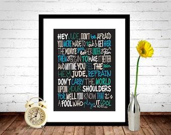 The Beatles - Hey Jude Poster, Song Lyrics Print, Music Poster, Song Lyrics