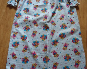 Size 10 Girls Pajamas with cats on blue and white check