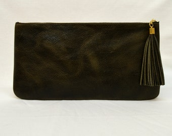 Leather Clutch,Purse,Pouch,Tassel, Olive, Green