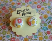 Fabric Button Earrings - Flowers and Fruits