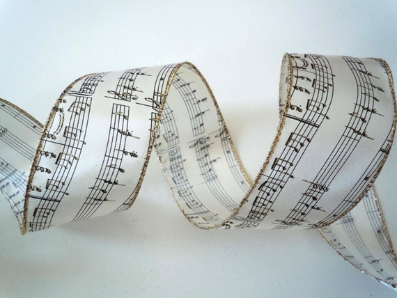 Musical notes wired ribbon decorations music themed ivory christmas