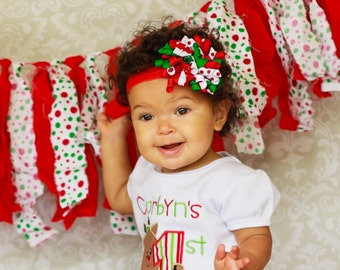 Christmas Headband, Baby Headband, Flower Headband, Newborn Headband, Korker Headband, Christmas Hair Bows, First Christmas Headband