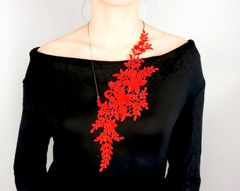 red statement necklace / lace necklace / hand dyed floral bib // boho chic unique gift for her