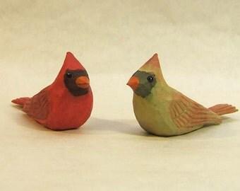 Miniature Cardinal Birds Wood Carving Unique Gift Art Sculpture