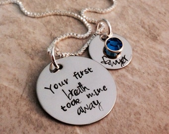 Your first breath took mine away personalized necklace necklace hand stamped jewelry birthstone necklace mother daughter son grandma