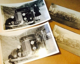Vintage Car Photos, 4 Automobile Photographs, 1930s, 1940s, Husband and Wife, People and Cars, Transportation
