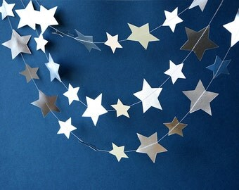 Silver star garland, Star papèr garland, baby shower, Metallic garland, Silver garland, Paper garland, MES-P0002