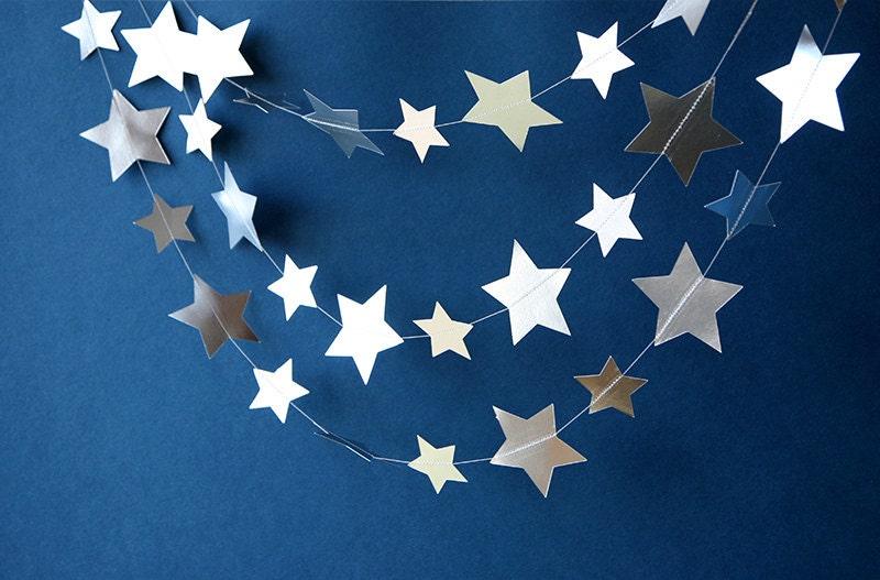 Silver star garland decor metallic