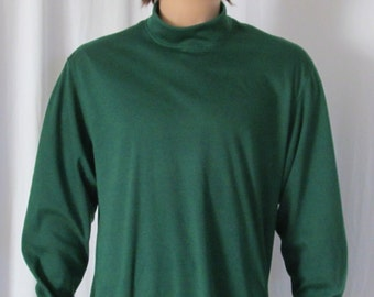 Dark Hunter Green Mock Turtleneck Mens Size S M L XL XXL Big and Tall Extra Long